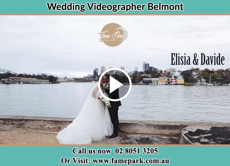 Bride and Groom kissed at the shore Belmont NSW 2280