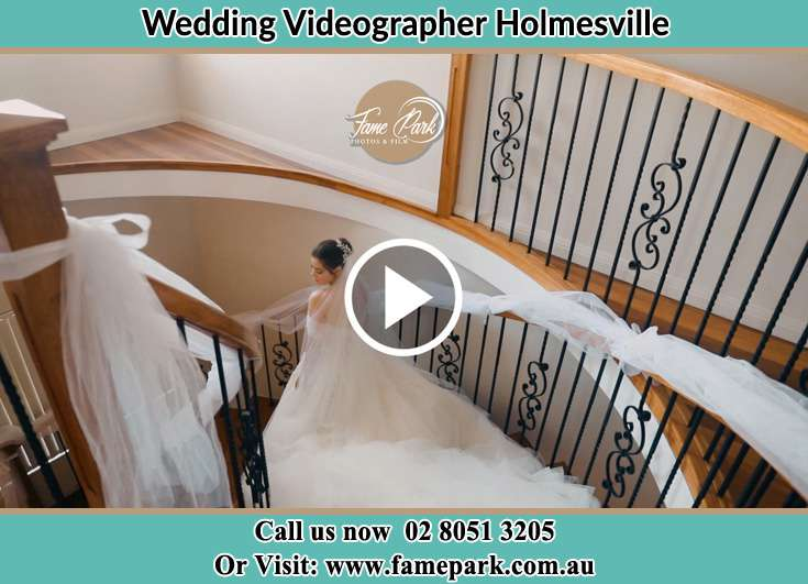 The Bride walking downstairs Holmesville NSW 2286