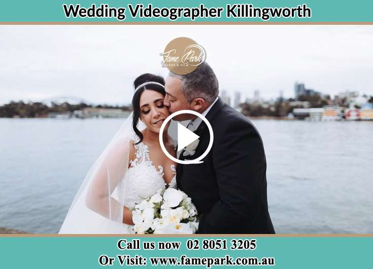 Bride and Groom kissed at the shore Killingworth NSW 2278
