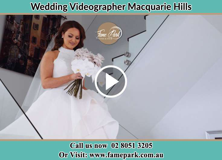 The Bride walking downstairs Macquarie Hills NSW 2285