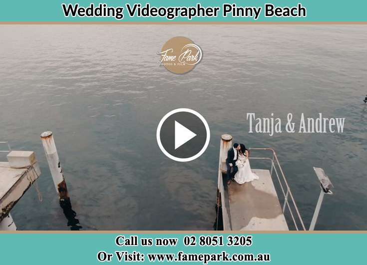 Bride and Groom at the shore Pinny Beach NSW 2281