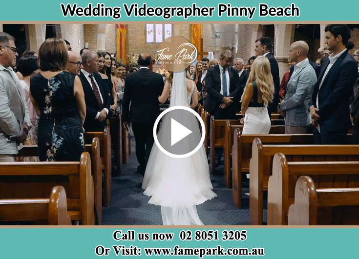 The Bride walking down the aisle with her father Pinny Beach NSW 2281