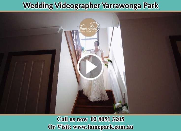 The Bride walking downstairs Yarrawonga Park NSW 2264